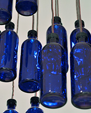 Blue glass bottle upcycled